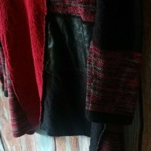 Style & Co Sweaters - Women's long sweater reds and black patchwork